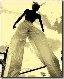 A Barbados Stilt Walker at Crop Over